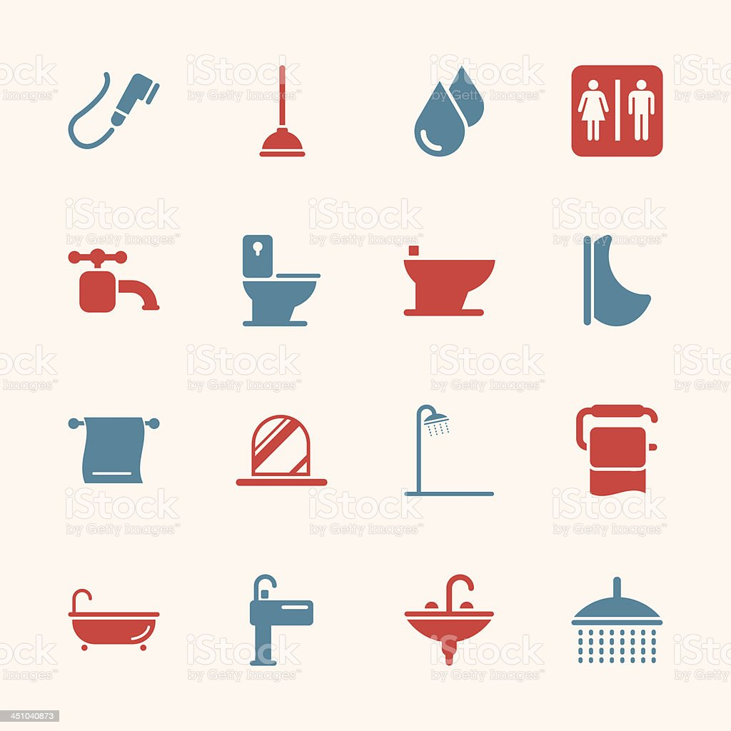 Bath and Bathroom Icons - Color Series | EPS10 vector art illustration