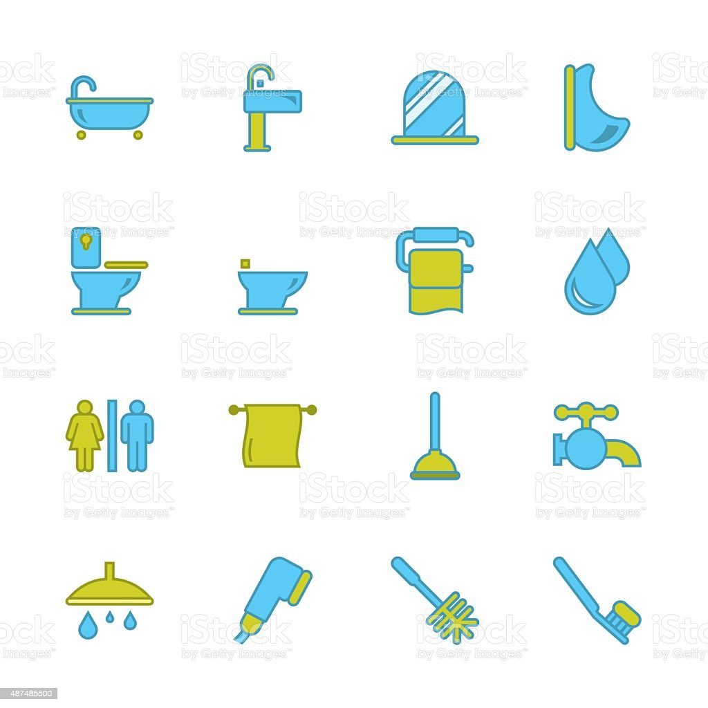 Bath and Bathroom - Outline Series vector art illustration