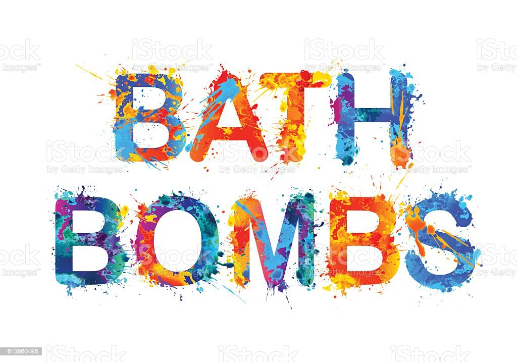 Bath bombs. Splash paint vector art illustration