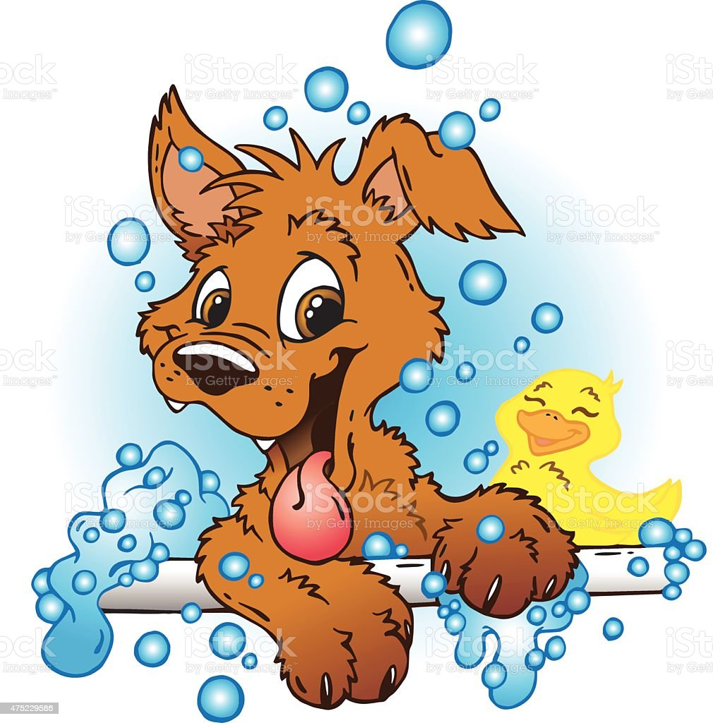 Bath Puppy vector art illustration