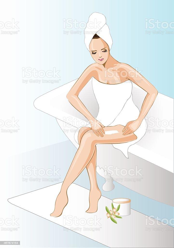 Bath time routine vector art illustration