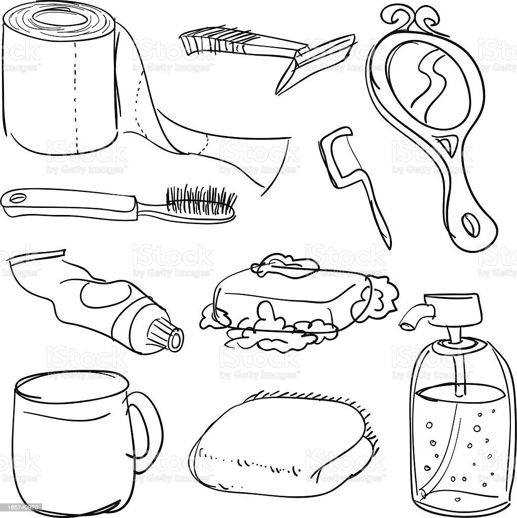 bathroom accessories in black and white stock vector art 165749920