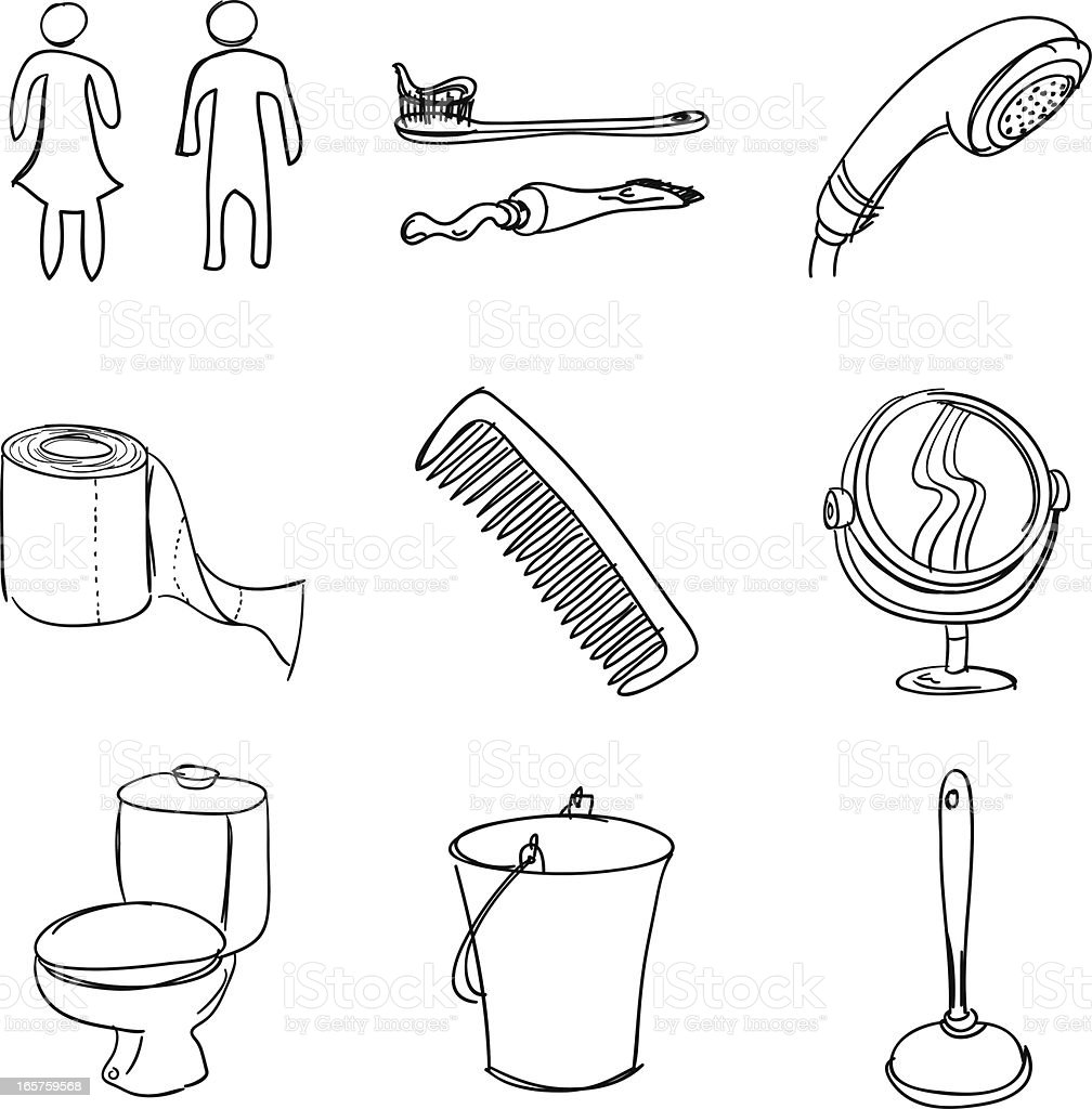 Bathroom accessories in sketch style vector art illustration