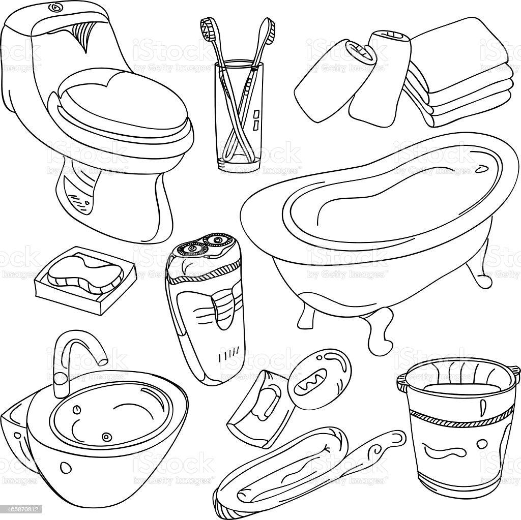 Bathroom Accessories vector art illustration