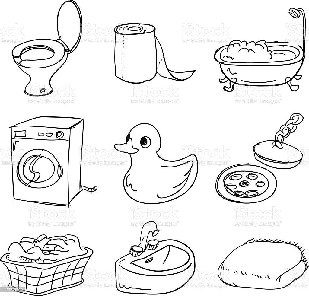 Bathroom accessory collection vector art illustration