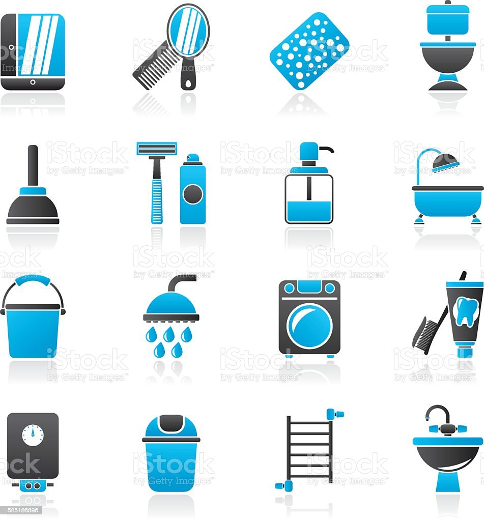 Bathroom and hygiene objects icons vector art illustration