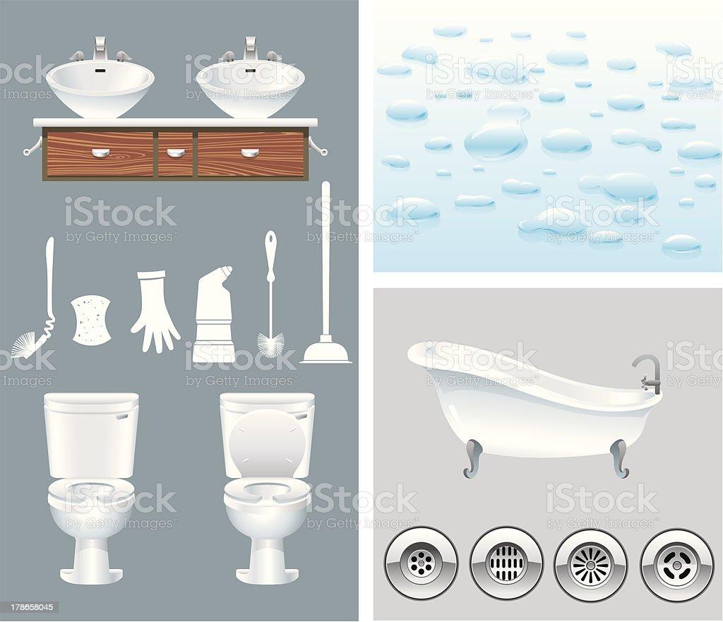 Bathroom and Toilet Set vector art illustration