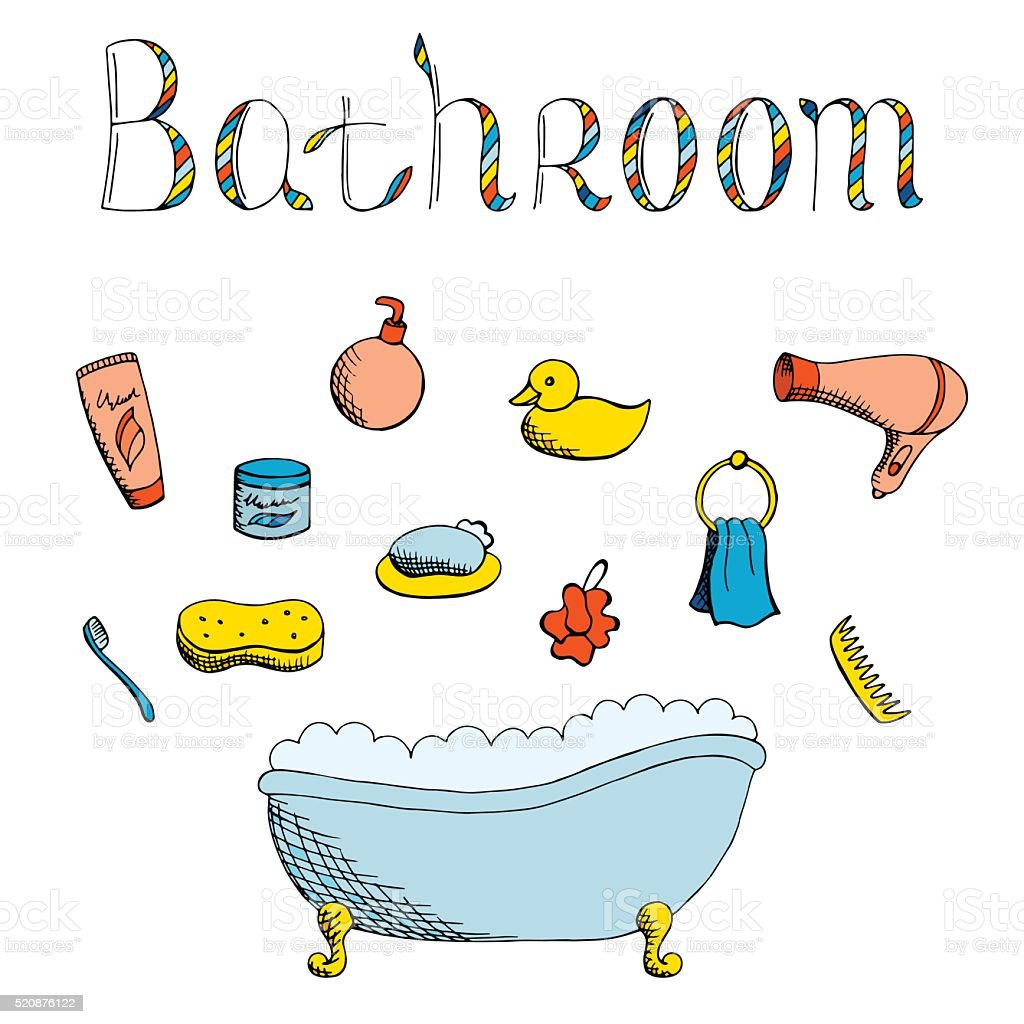 Bathroom graphic art set color isolated illustration vector vector art illustration