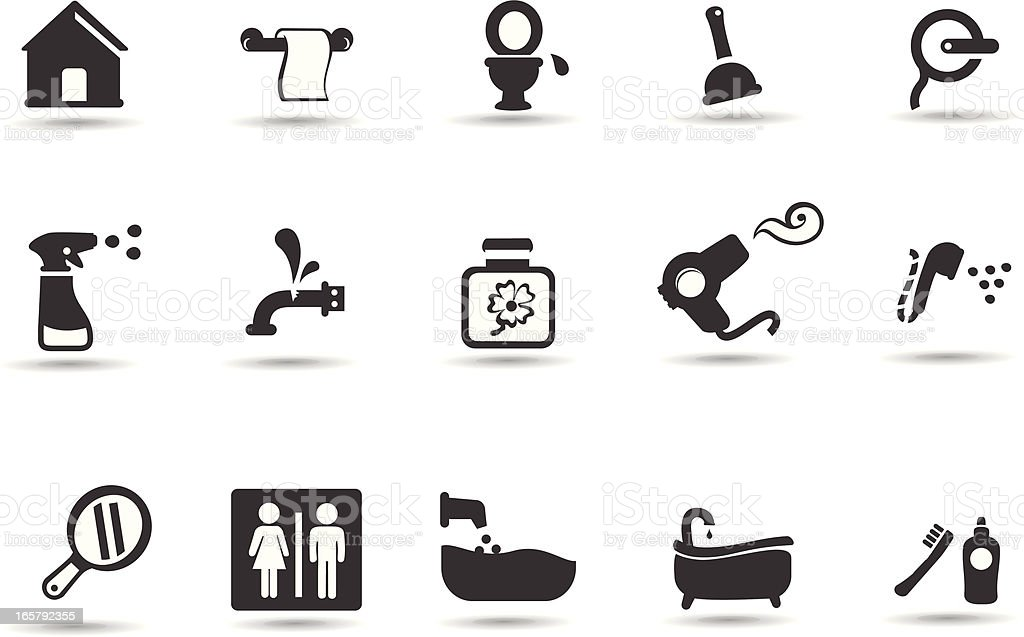 Bathroom Icon Set vector art illustration