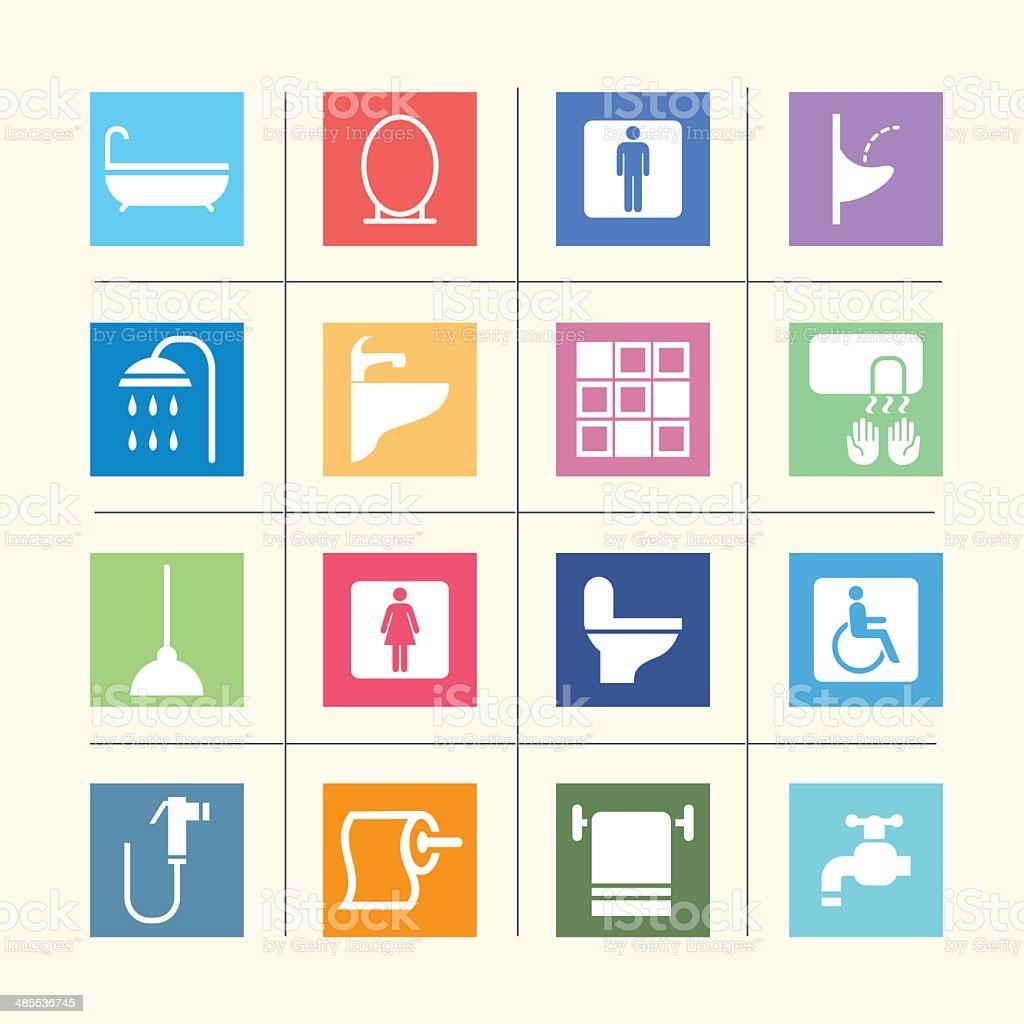 Bathroom Icons Color harmony| EPS10 vector art illustration
