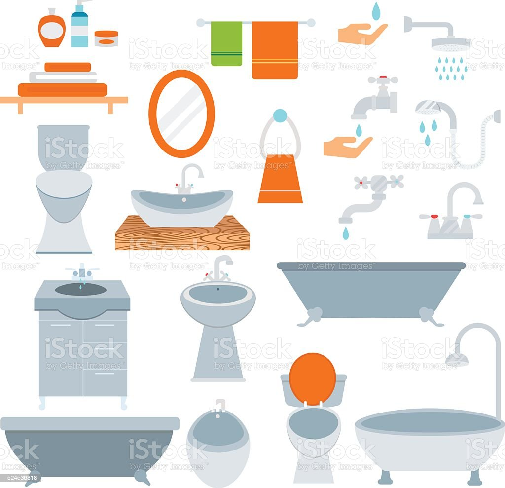 Bathroom icons colored set with process water savings symbols vector vector art illustration