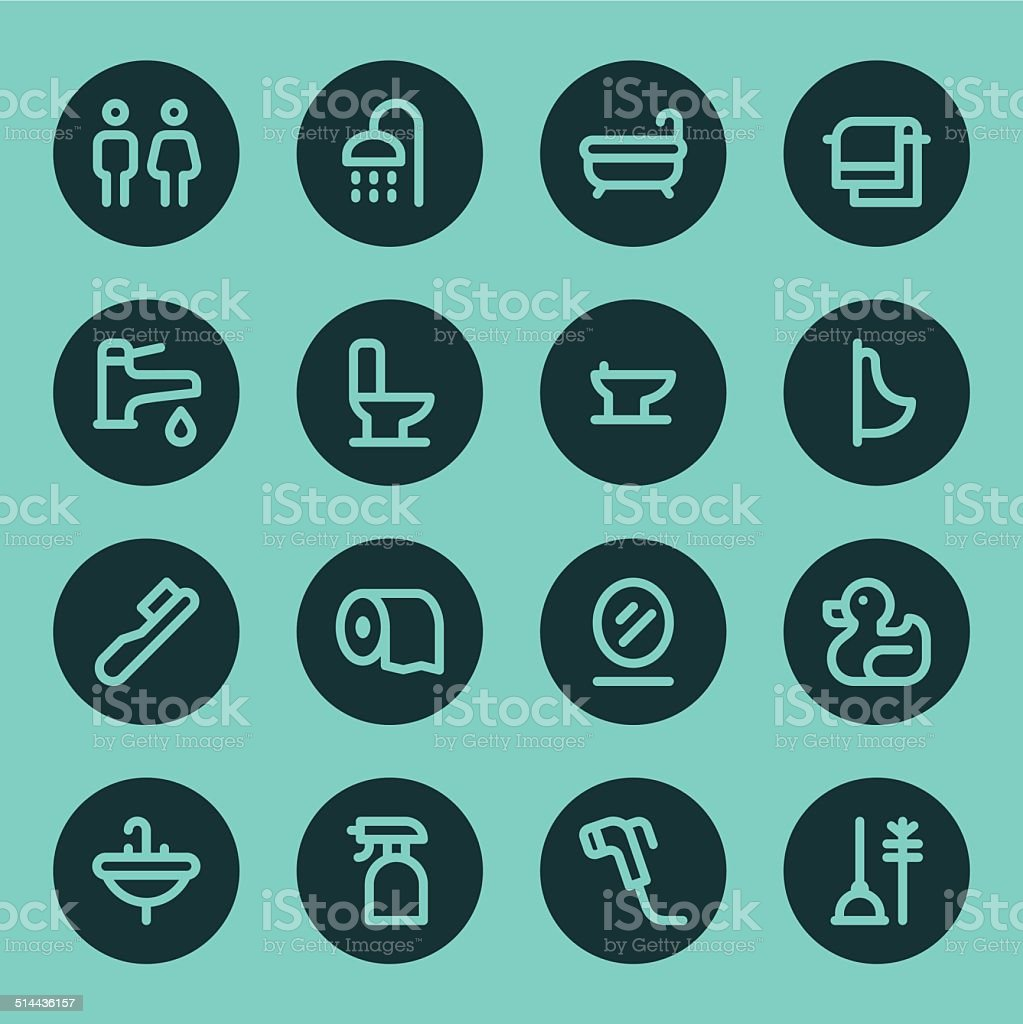 Bathroom icons - Line - Circle vector art illustration