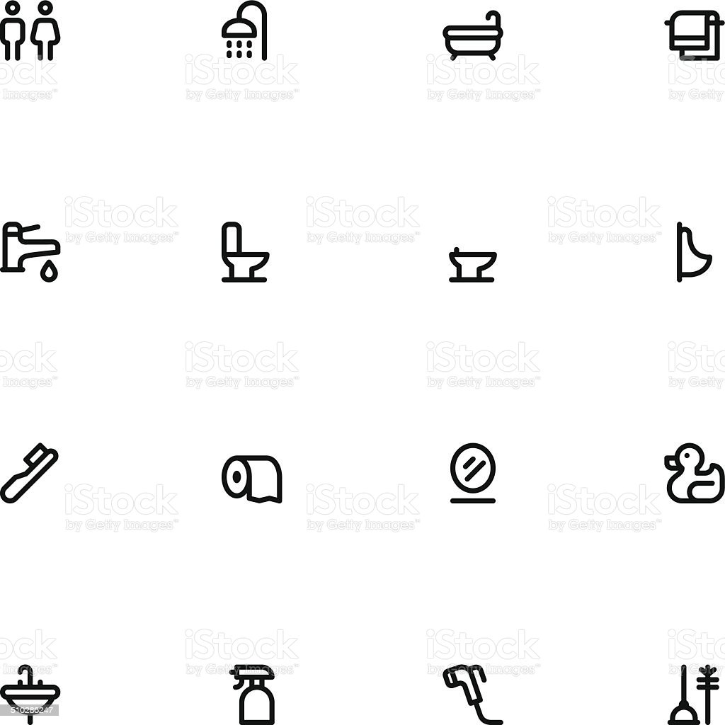 Bathroom icons - Line vector art illustration