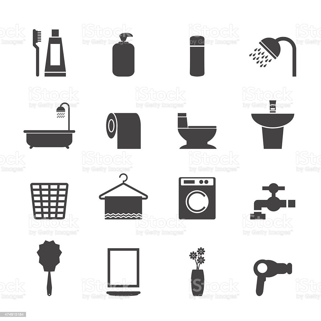 Bathroom icons set vector art illustration