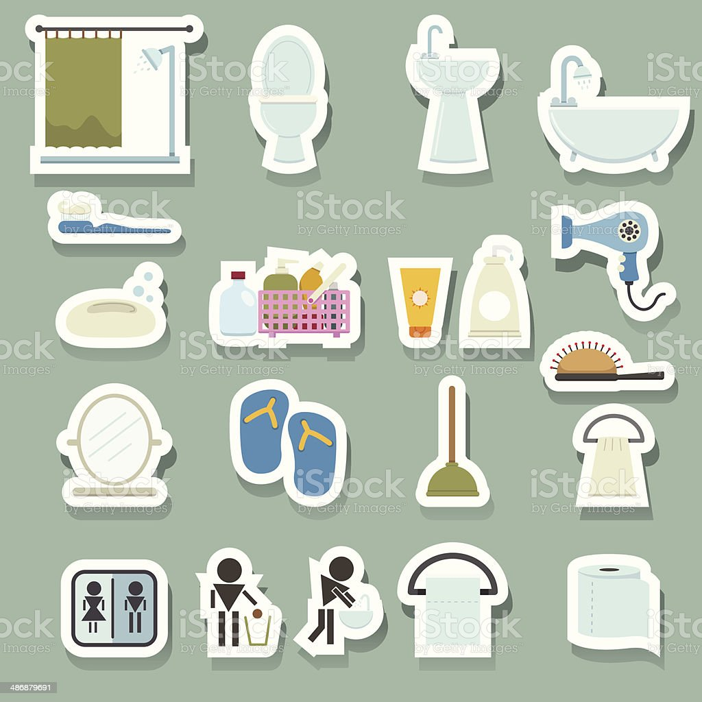 Bathroom icons sticker royalty-free stock vector art