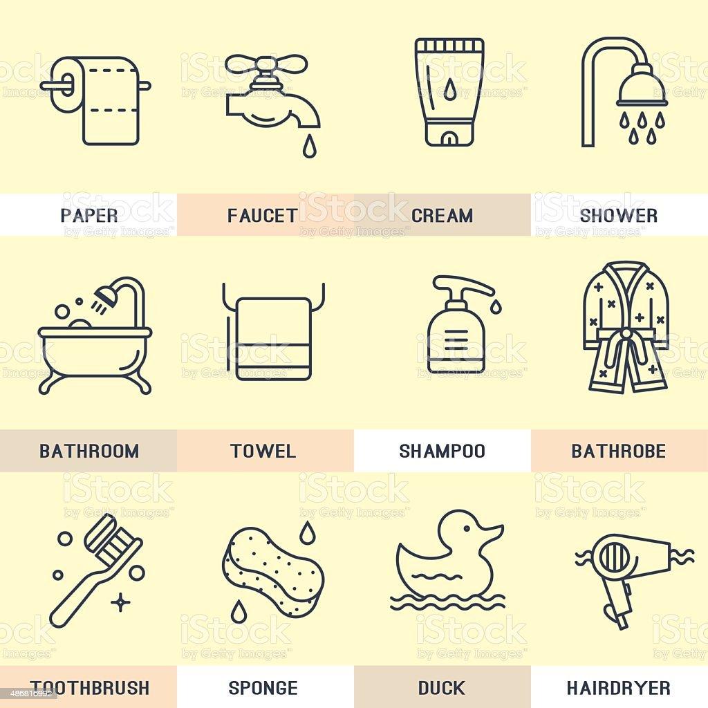 Bathroom icons. vector art illustration
