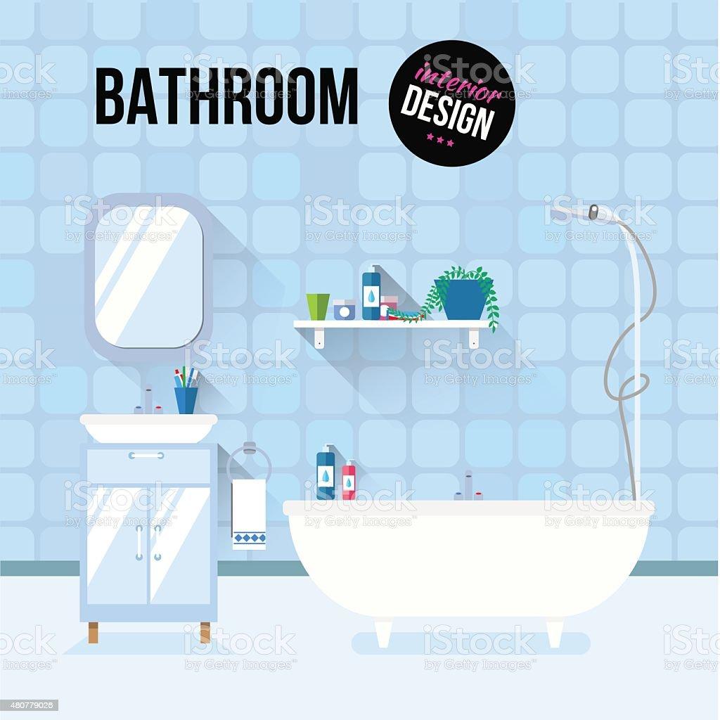 Bathroom interior design vector art illustration