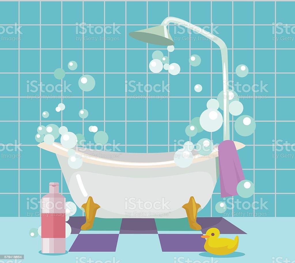 Bathroom interior. Vector flat cartoon illustration vector art illustration