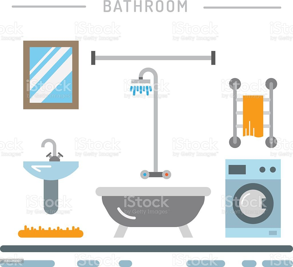 Bathroom interior vector vector art illustration
