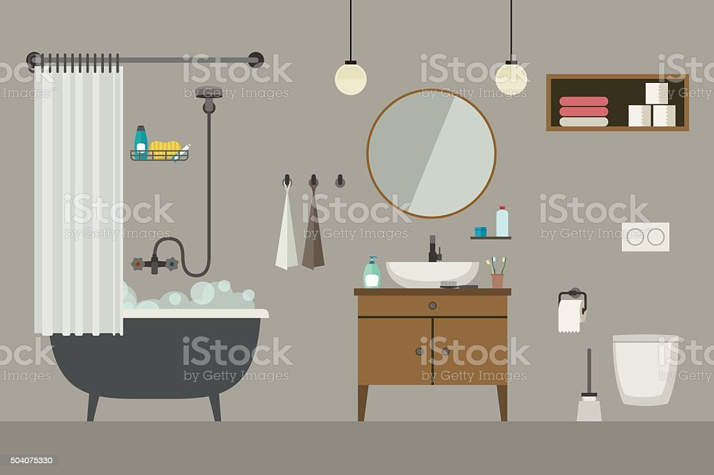 Bathroom interior with furniture. vector art illustration