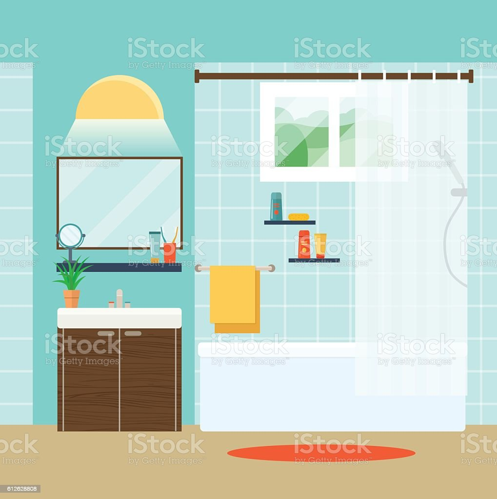 Bathroom mirror clip art - Bathroom Interior With Sink Mirror And Window Vector Flat Illustration Royalty Free Stock