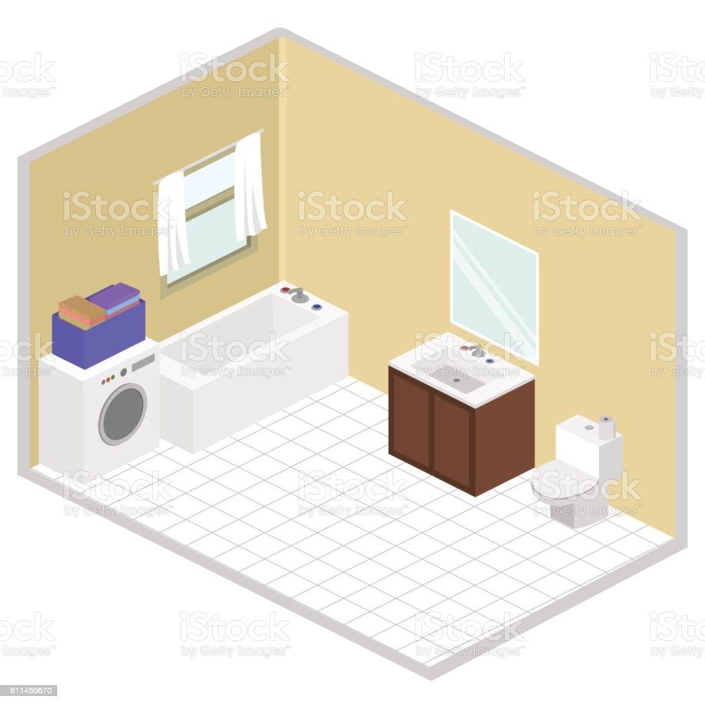 Bathroom Isometric Vector Interior Design Royalty Free Stock Art