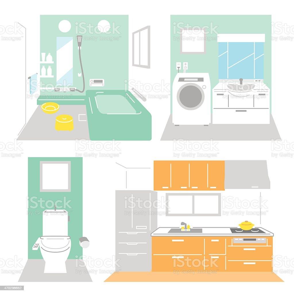 Bathroom, laundry, kitchen vector art illustration