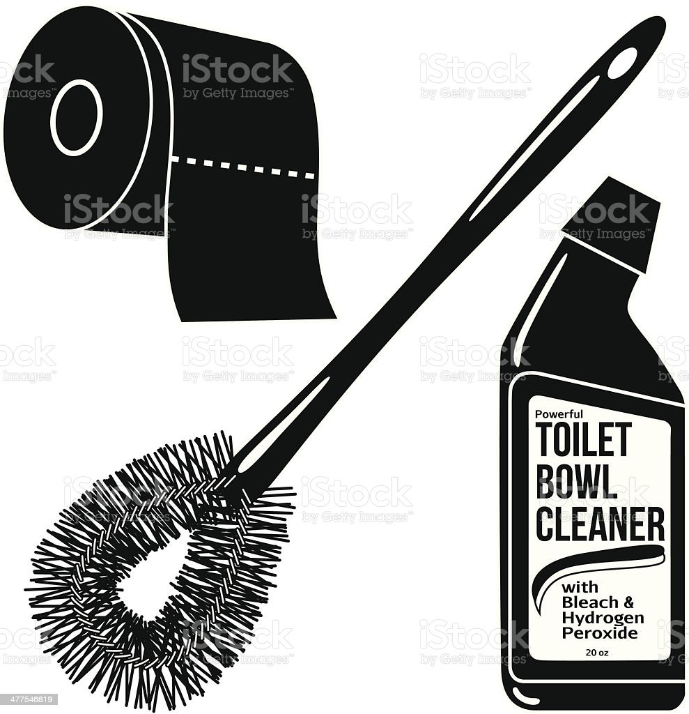 bathroom products in black and white vector art illustration