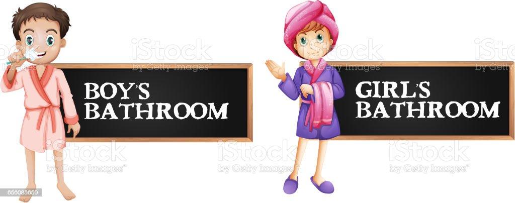 Bathroom Sign Boy Girl bathroom sign for boy and girl stock vector art 656085650 | istock