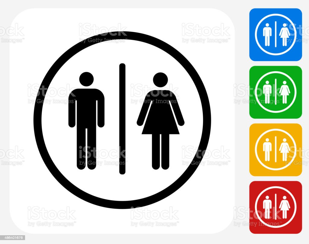Bathroom Sign Icon Flat Graphic Design vector art illustration