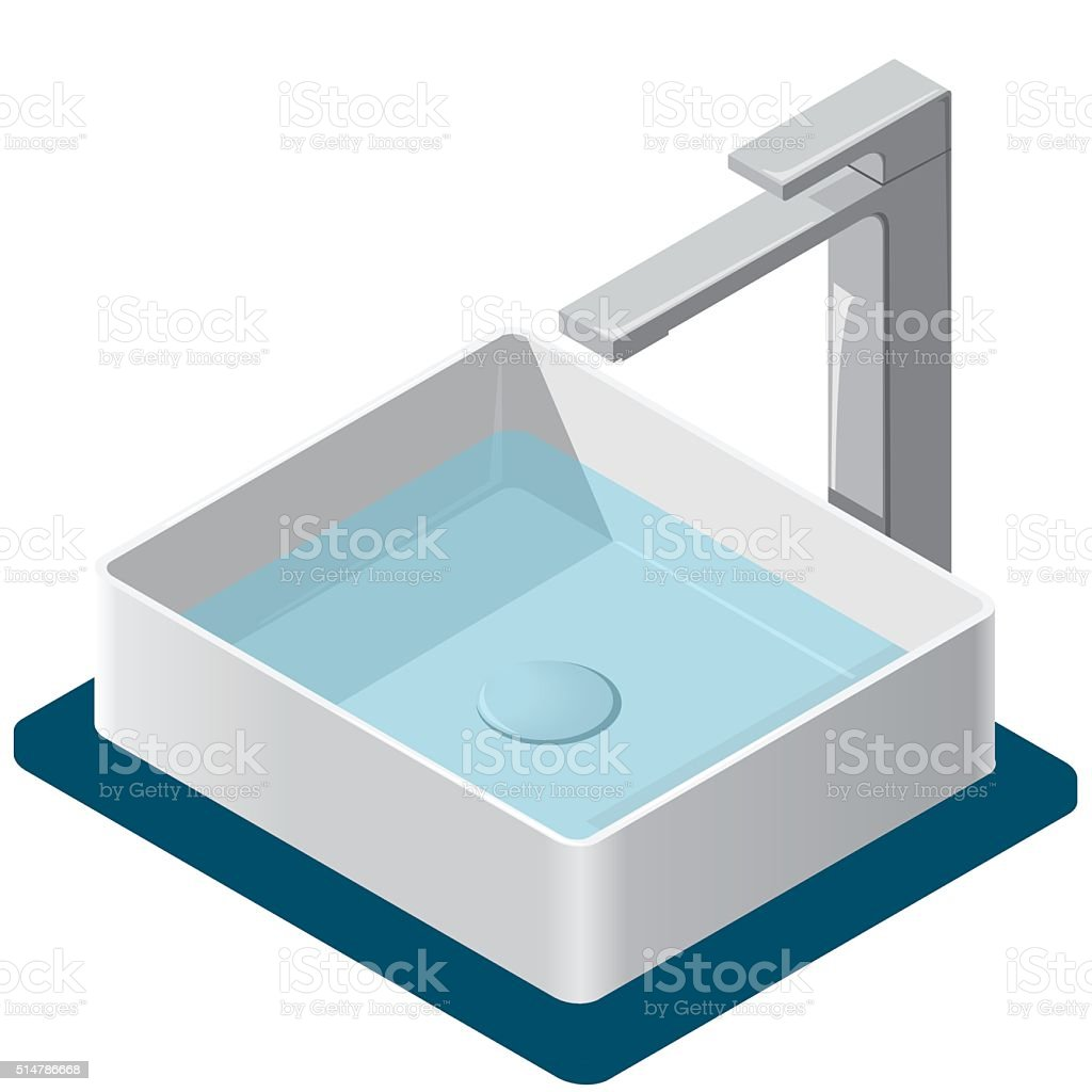 Bathroom sink. Isometric basin with tap. Kitchen interior infographic element. vector art illustration