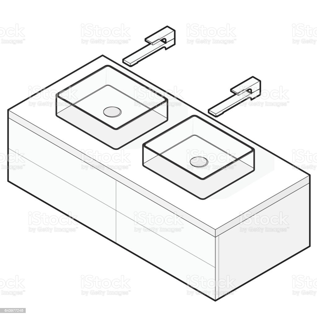 Bathroom sink clip art - Bathroom Sink Isometric Basin With Tap Outlined Interior Infographic Element Royalty Free