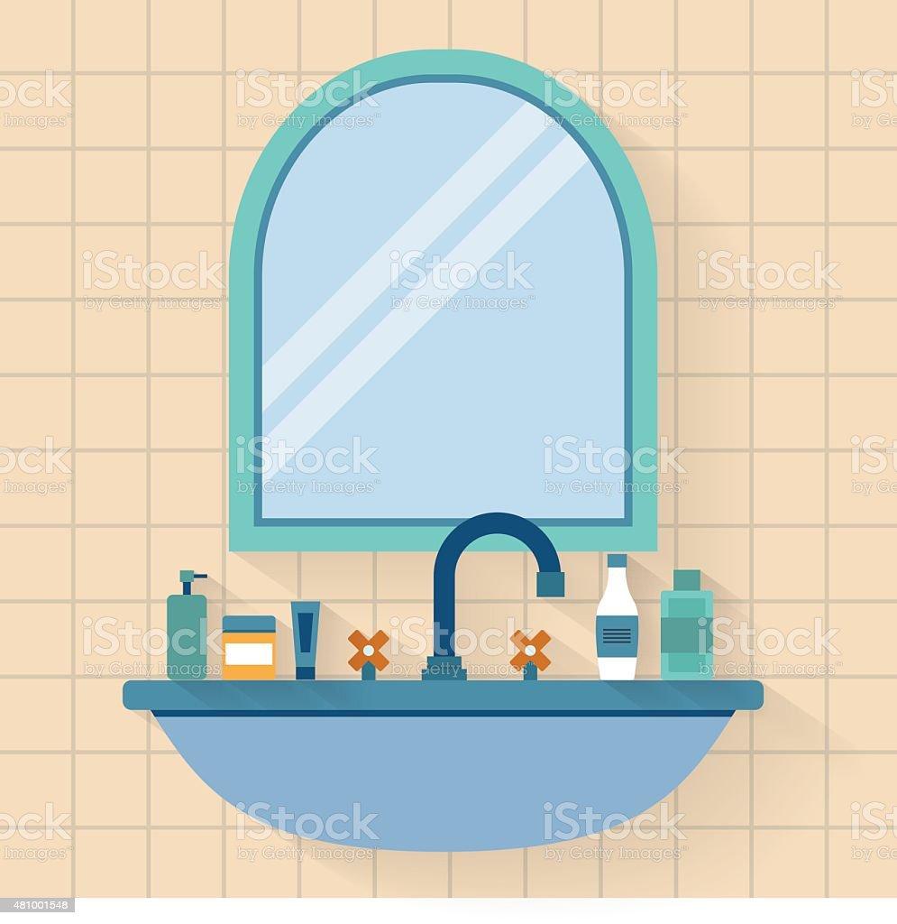 Bathroom sink with mirror vector art illustration