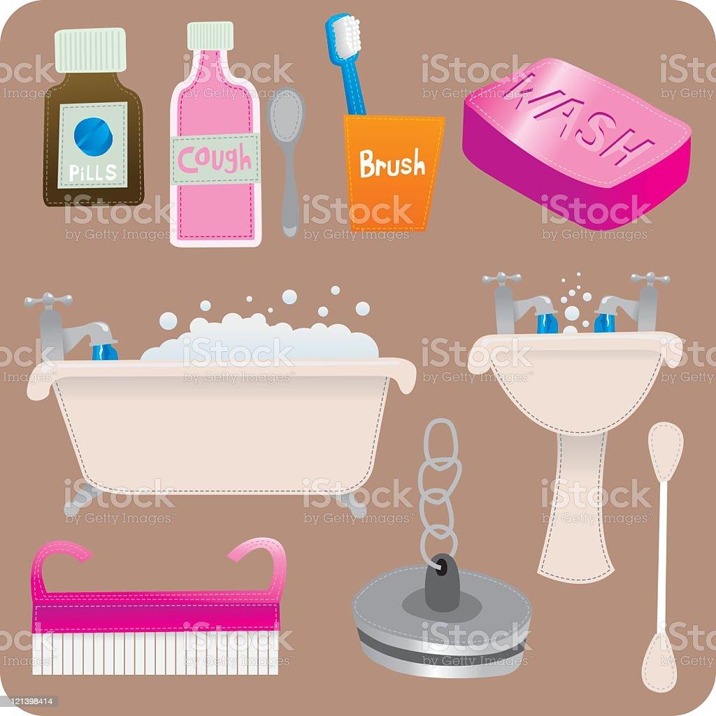 Bathroom stuff vector art illustration