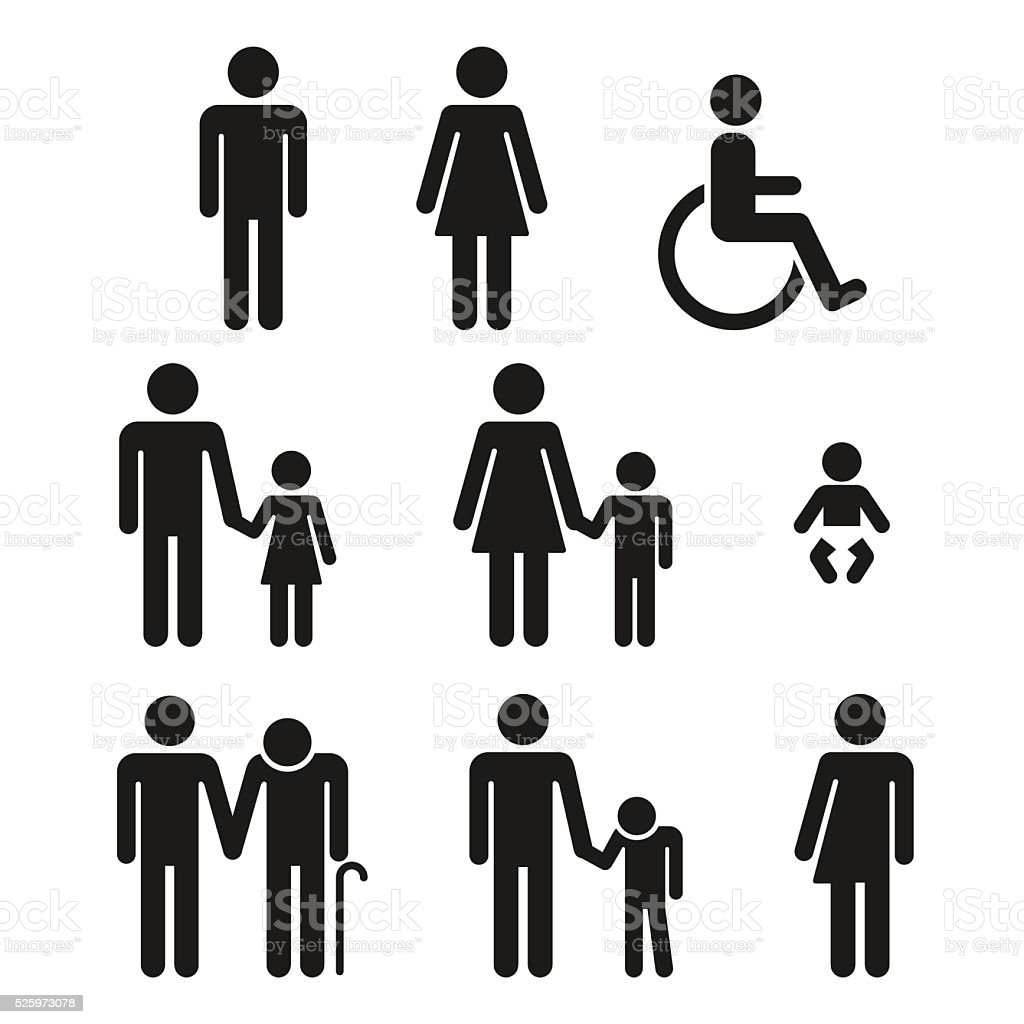 Bathroom symbols people icons vector art illustration