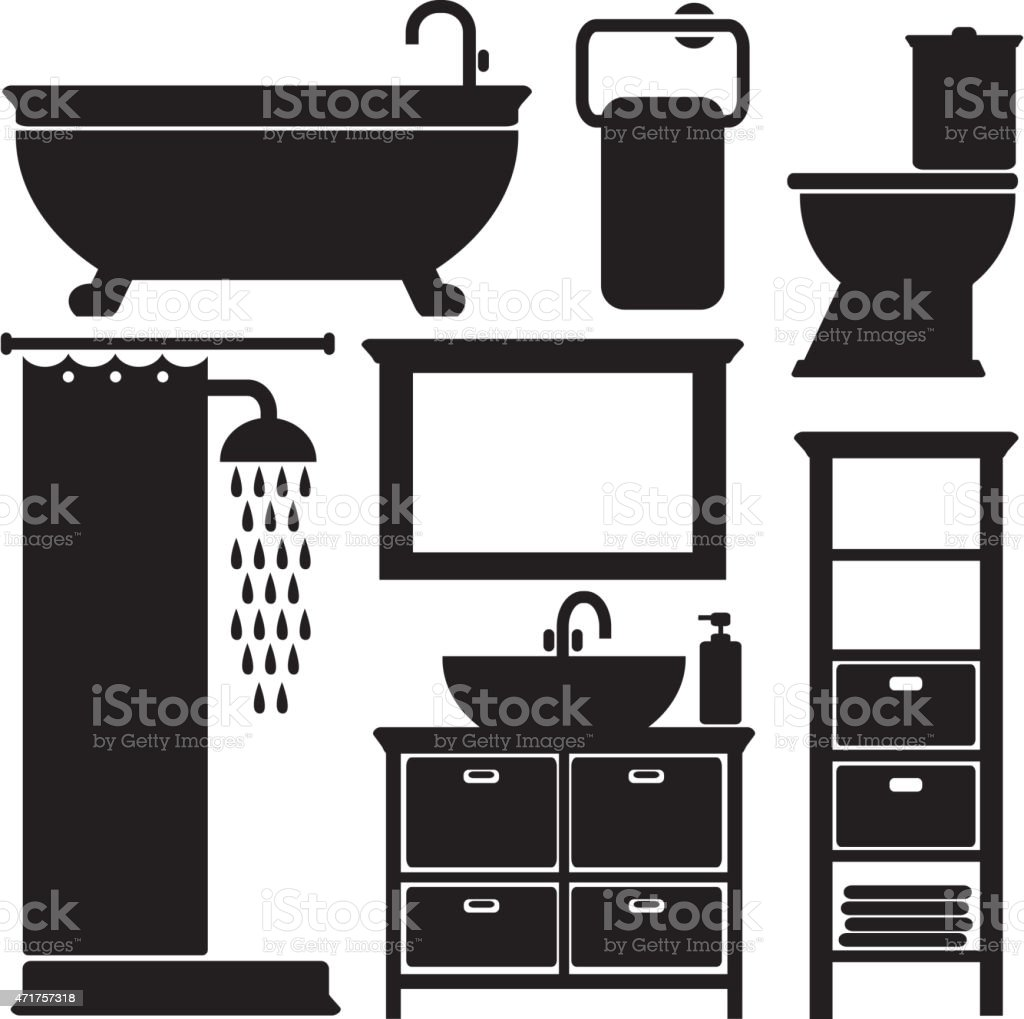 Bathroom toilet black icons set, isolated vector silhouettes vector art illustration