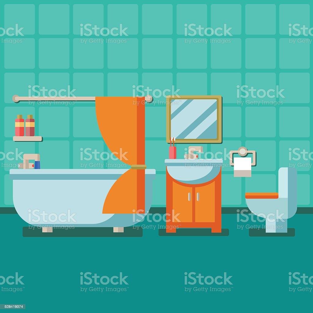 Bathroom with furniture. Flat style vector illustration vector art illustration