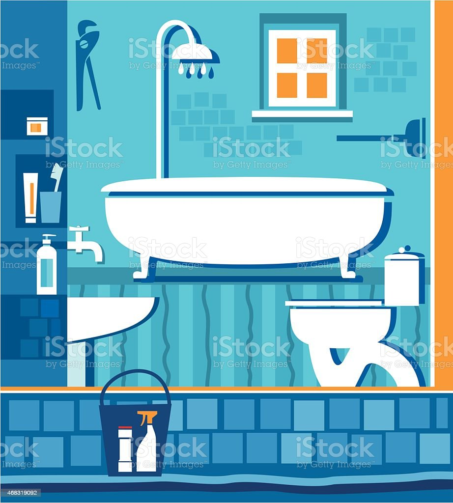 Bathroom with toilet. vector art illustration