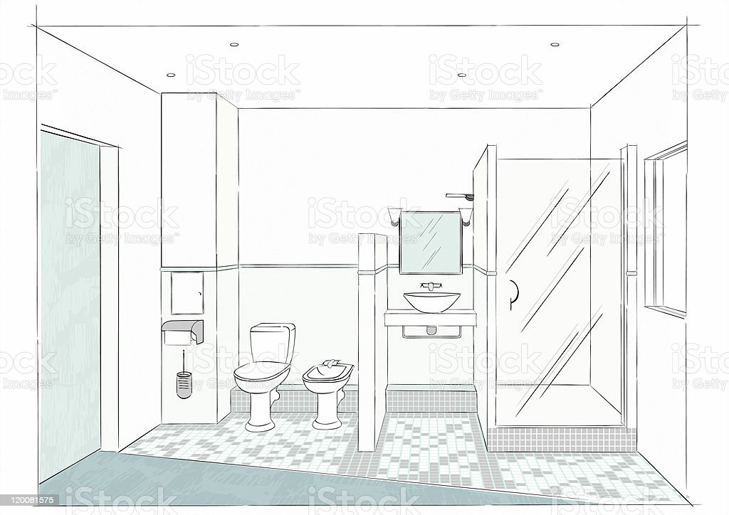 Bathrooms Sketch Stock Vector Art 120081575 Istock