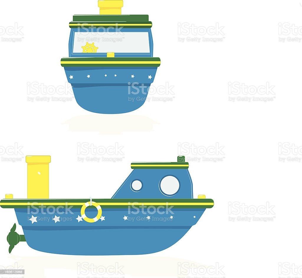 Badewanne mit Spielzeug Boote auf der Vorderseite und seitliche Lizenzfreies vektor illustration