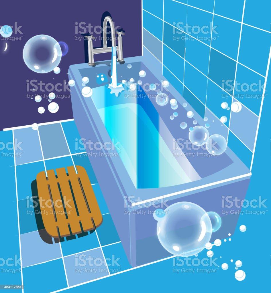 Bathtube_blue vector art illustration