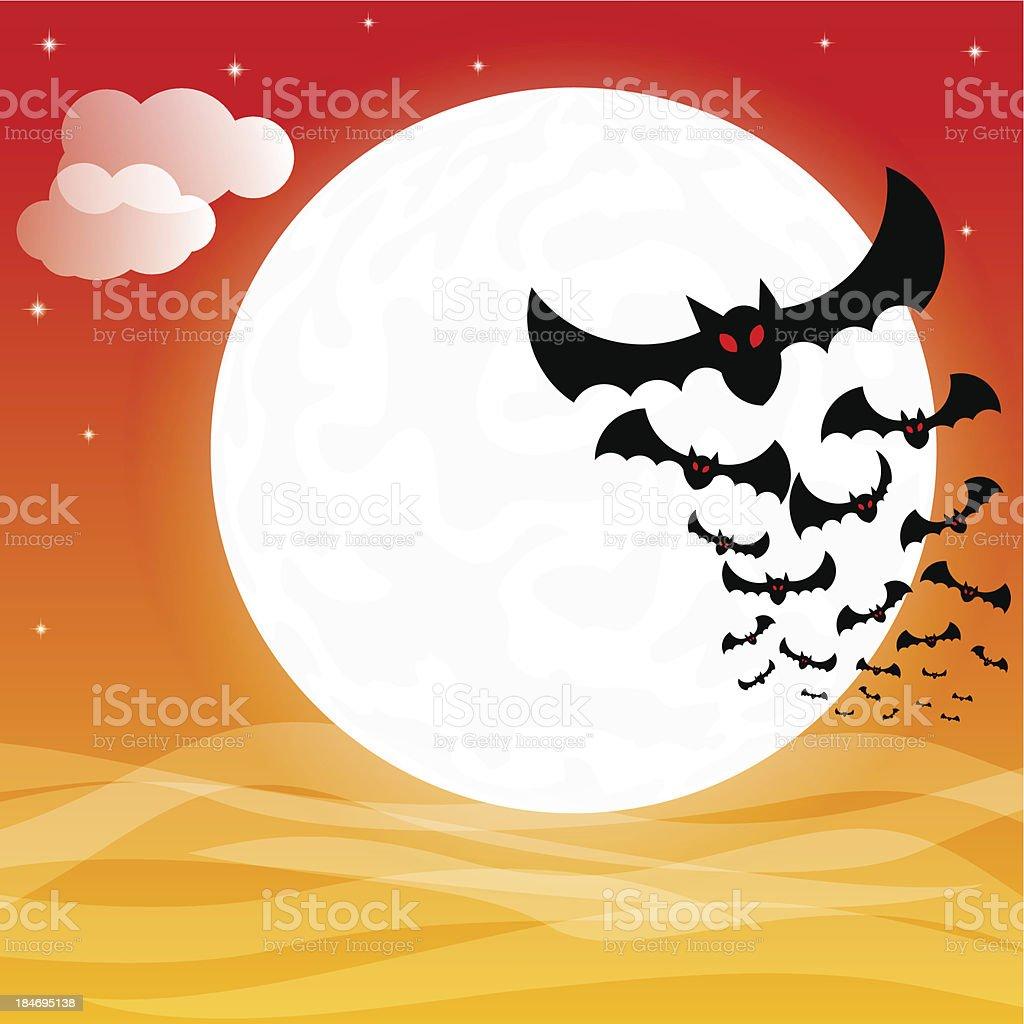 bats against the full moon royalty-free stock vector art