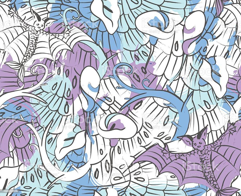 Bats and calla lily flowers seamless pattern – Illustration vector art illustration