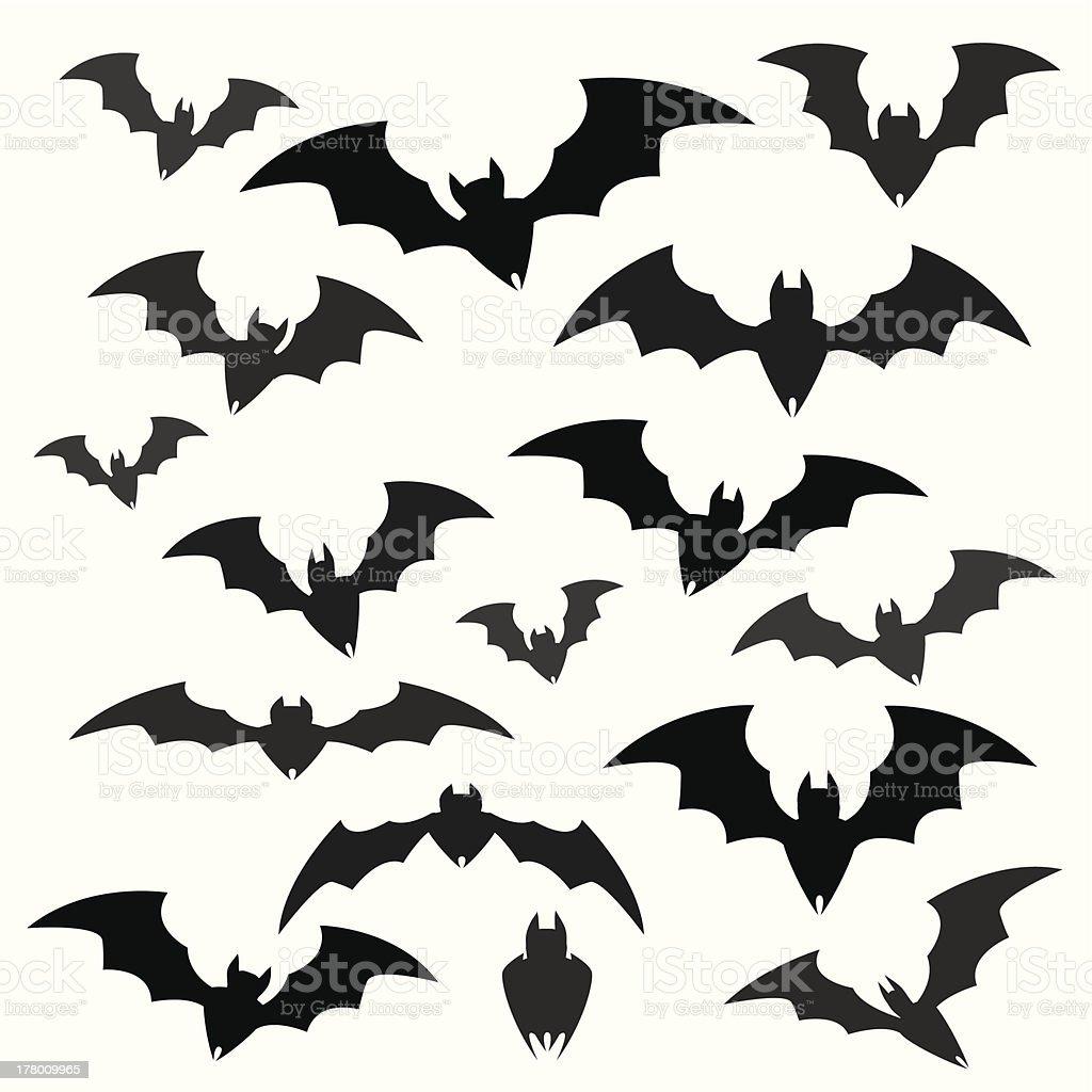 Bats and Halloween Icon Sets vector art illustration
