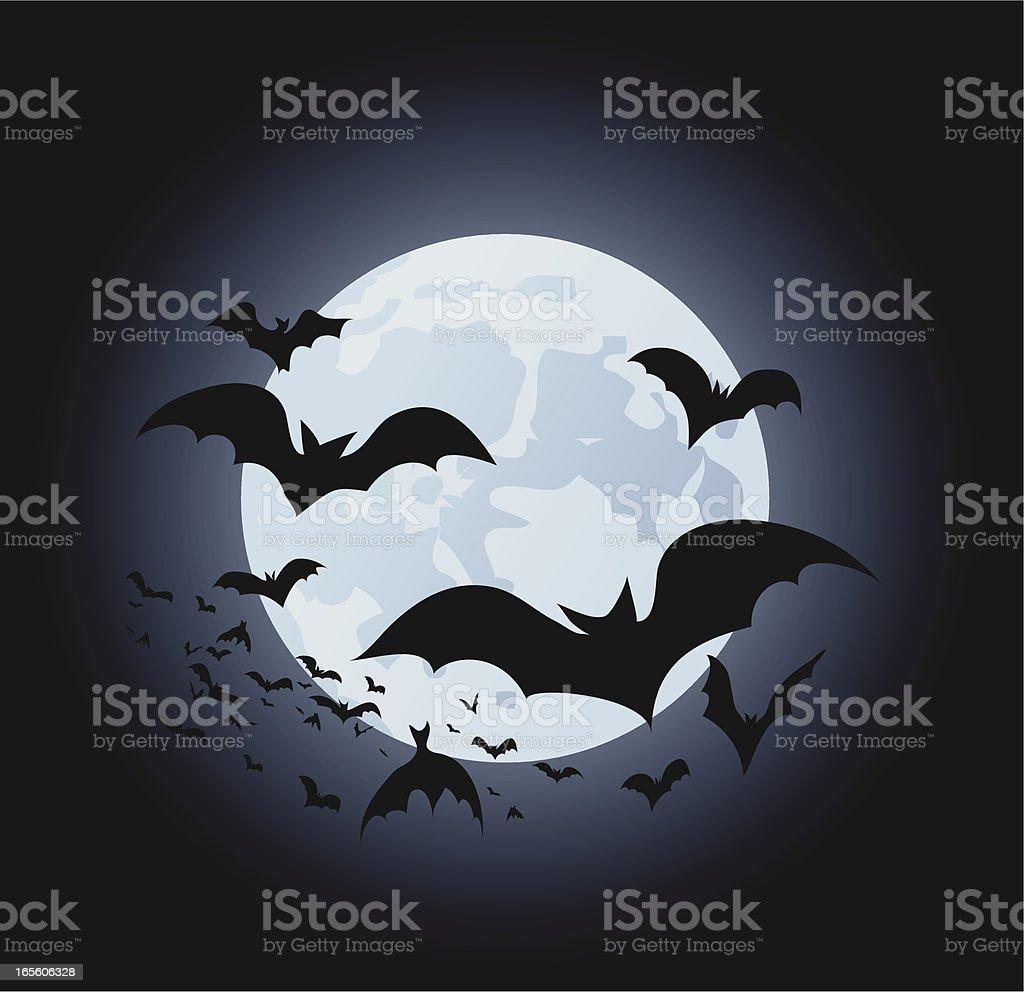Bats and Moon vector illustration royalty-free stock vector art