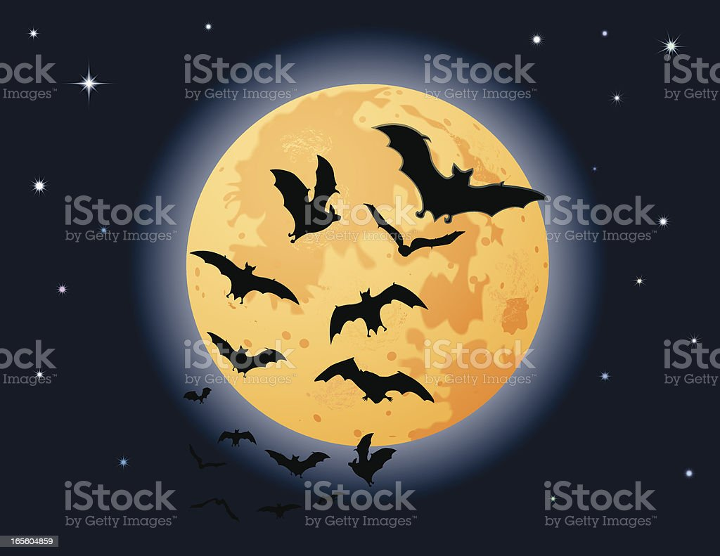 Bats Harvest Moon royalty-free stock vector art