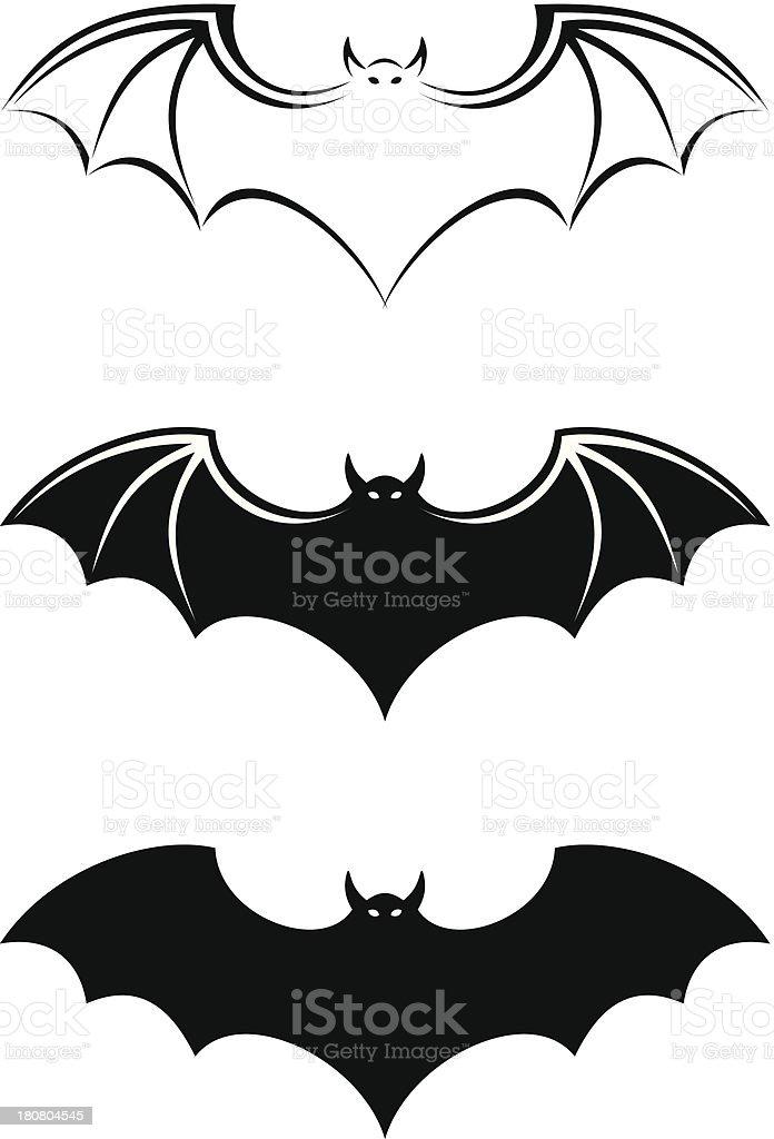 Bats. Vector black silhouettes. vector art illustration