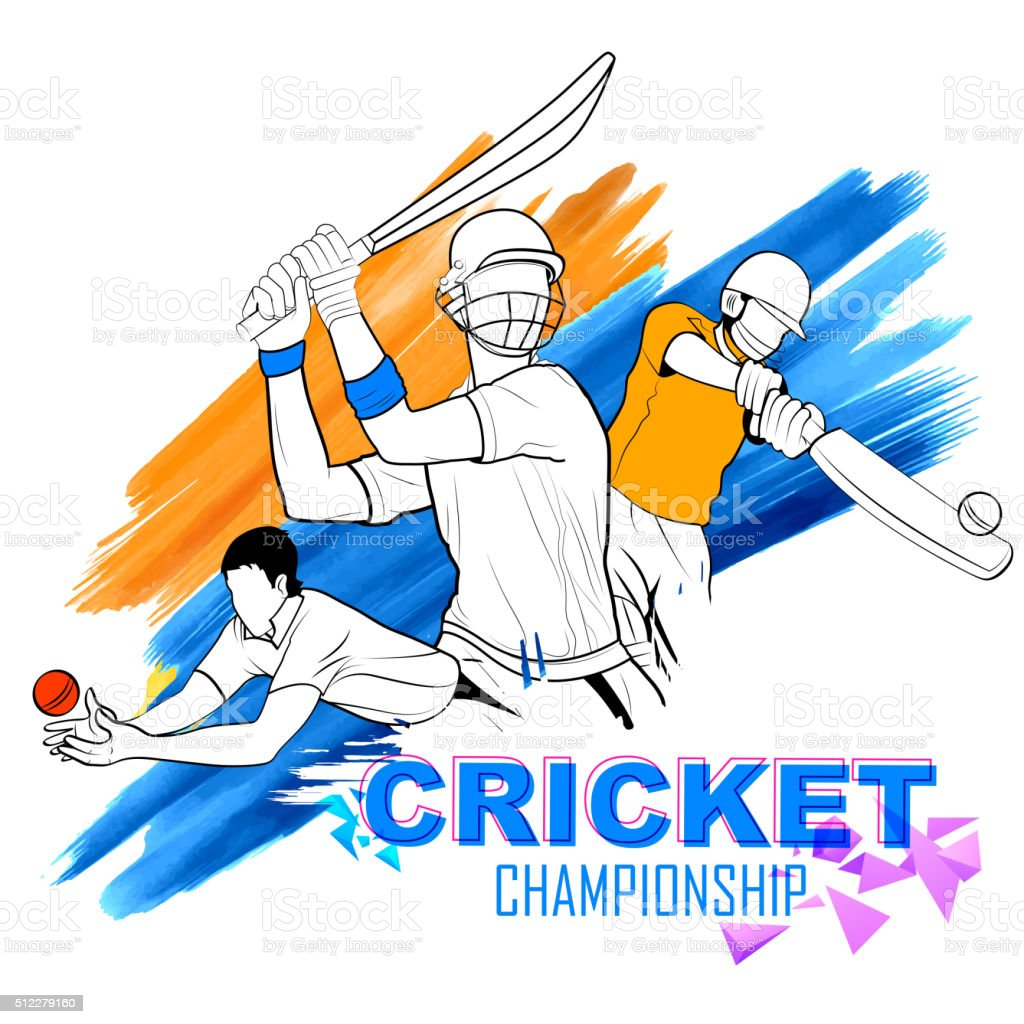 Batsman playing cricket championship vector art illustration
