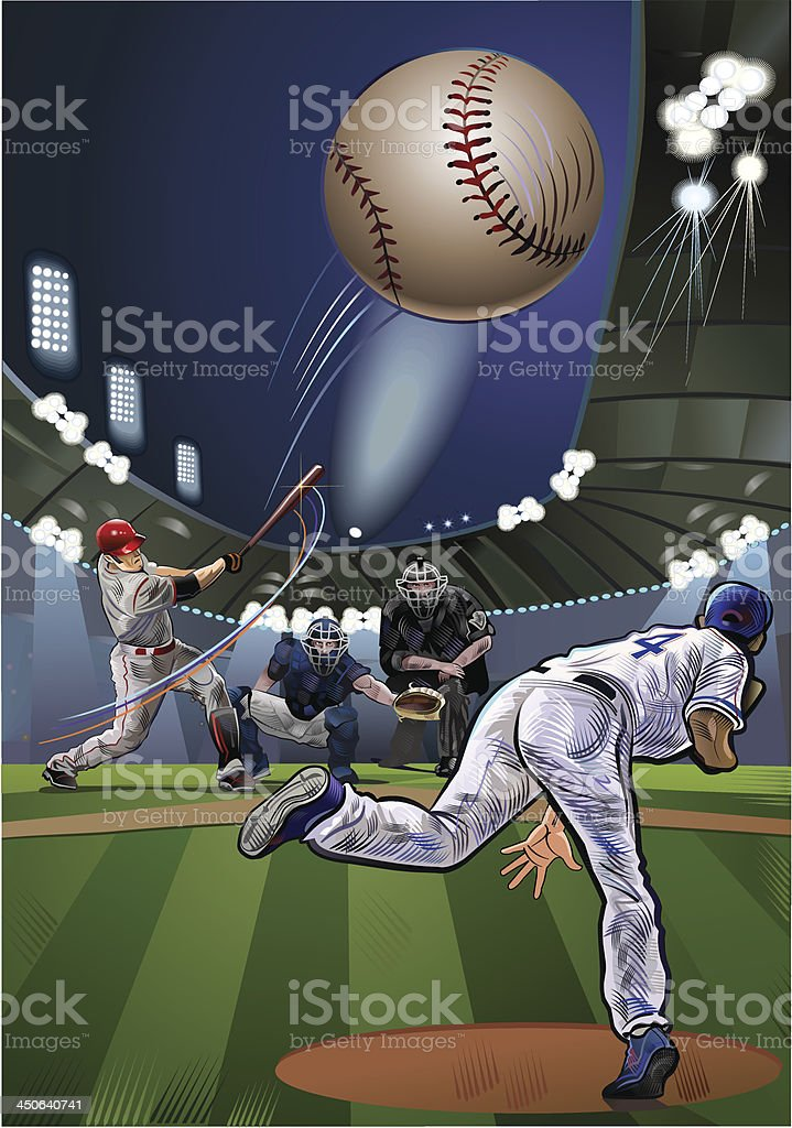 Batter swings at a pitch royalty-free stock vector art