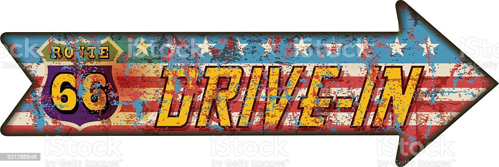 battered route sixty six drive in sign vector art illustration